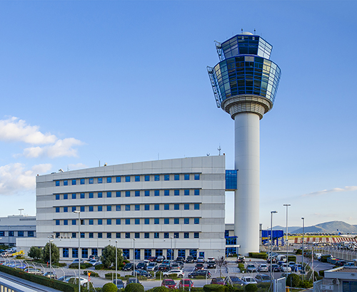 Panoramic view of Athens International Airport - Eleftherios Venizelos and air Traffic Control Tower (TWR) in Spata. Attica - Greece